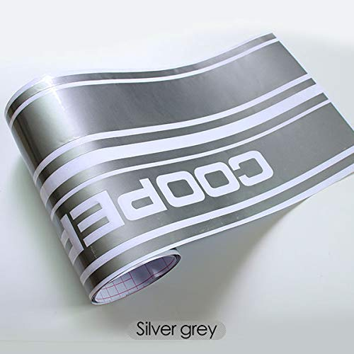Car Side Skirt Sill Racing stripe Car Sticker and Decal For BMW Cooper r56 r57 r58 r60 r61 f56 r50 r53 r52 f55 Car Styling - (Color Name: Silver Grey)