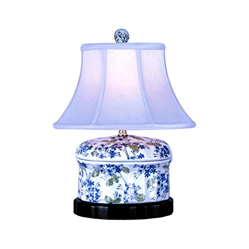Chinese Porcelain Green Blue White Round Box Floral Motif Table Lamp 15'' by Asian Style Furnishing