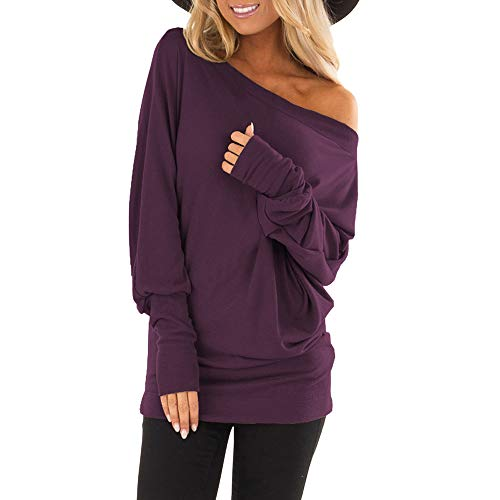 Shoulder Loose Pullover Sweater Batwing Sleeve Knit Jumper Top Blouse, (Y3, L) ()