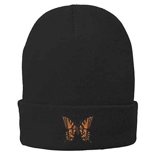 Trendy Apparel Shop Butterfly Embroidered Winter Knitted Long Beanie - Black (Embroidered Beanie Butterfly)
