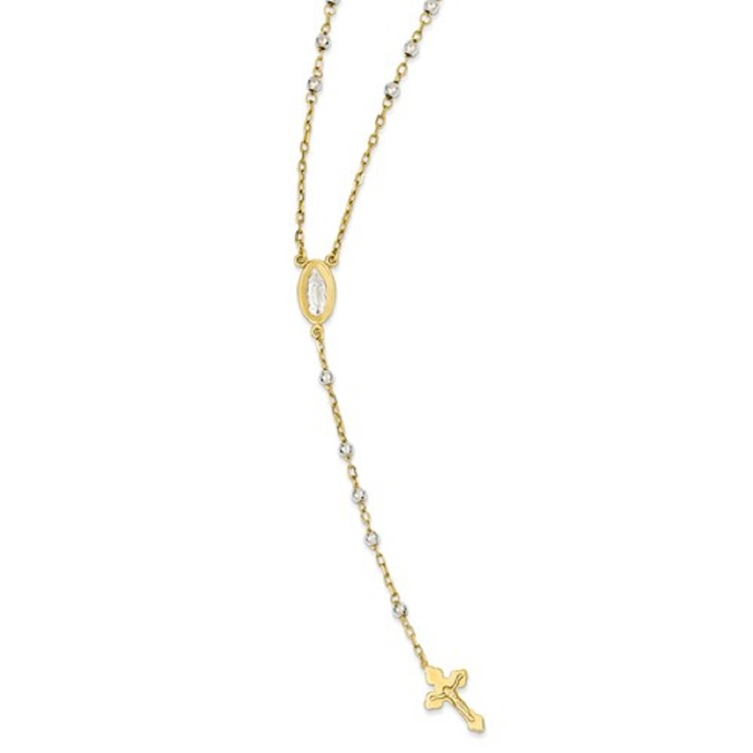 Roxx Fine Jewelry Two Tone 14K Gold Ornate Miraculous Medal Rosary 16'' Necklace 4.00mm Beads in 14K Yellow and White Gold