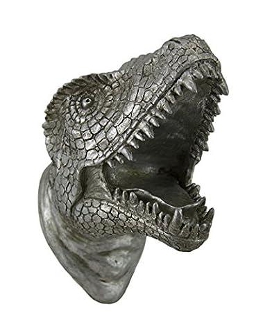Antique Silver Finish Dinosaur Head Wall Sculpture - Dinosaur Head