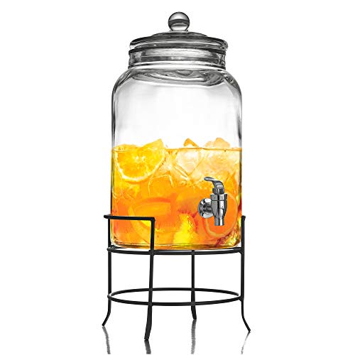 Style Setter Montgomery 210942-GB 2.75 Gallon Glass Beverage Drink Dispenser with Metal Stand & Glass Lid, 10 x 18