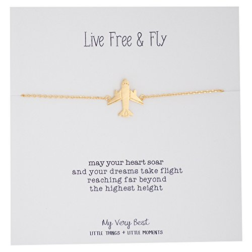 Bracelet Airplane - My Very Best Live Free and Fly Airplane Bracelet (Gold Plated Brass)