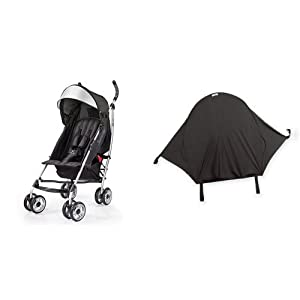 Summer Infant 3Dlite Convenience Stroller, Black & Summer Infant Rayshade Stroller Cover