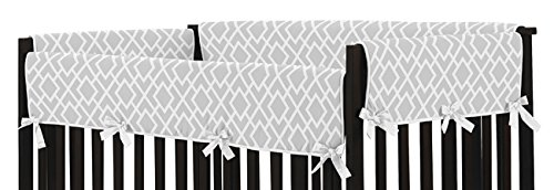 Sweet Jojo Designs 2-Piece Gray and White Diamond Teething Protector Cover Wrap Baby Unisex Boy or Girl Crib Side Rail Guards by Sweet Jojo Designs (Image #1)
