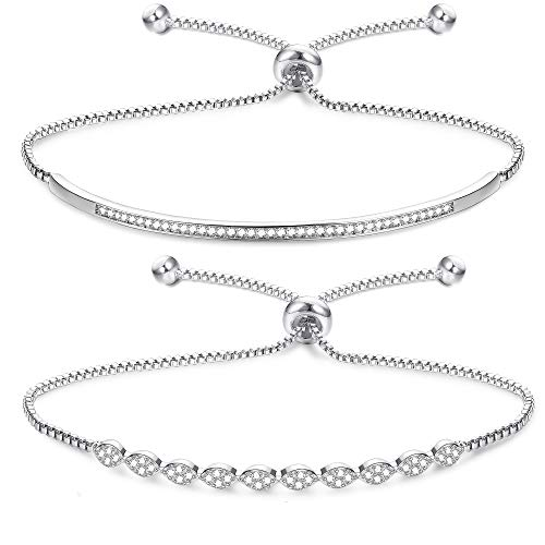 Adramata Bella Lotus Half Bar CZ Bracelets for Women Marquise Shaped Rose Gold Silver Adjustable Chain Bracelets - Bracelet Marquise 14k