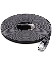 Cat 6 Ethernet Cable Black (at a Cat5e Price but Higher Bandwidth) Cat6 Flat Internet Network Cables - Ethernet Patch Cable - Short Computer LAN Cable with Snagless RJ45 Connectors (25ft)
