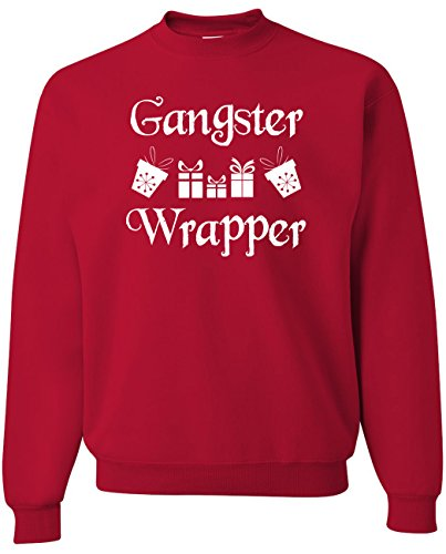 Funny Ugly Christmas Sweater Men- Gangster Wrapper Crewneck Sweatshirt- (Med, (Gangster Christmas Sweaters)