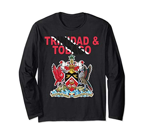(National Flag Text and Emblem of Trinidad and Tobago Long Sleeve T-Shirt)
