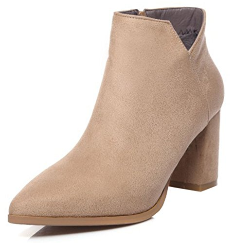 IDIFU Womens Trendy Zip Up Faux Suede Chunky Mid Heel Pointed Toe Short Ankle Boots Apricot KEvv20F
