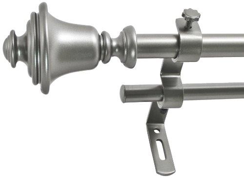 Montevilla 5/8-Inch Bell Double Window Treatment Rod Set, 86 to 128-Inch, Dark Nickel from Montevilla