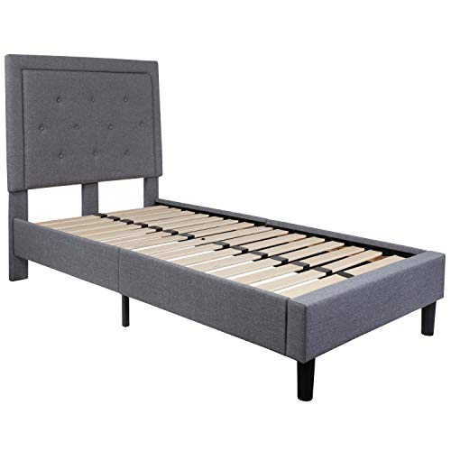 Flash Furniture Roxbury Tufted Upholstered Twin Size Platform Bed in Light Gray Fabric (Fabric Frame Twin Bed)