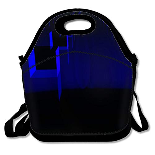Abstract 3D Cube Black Blue Digital Art Lunch Bags Insulated Travel Picnic Lunchbox Tote Handbag With Shoulder Strap For Women Teens Girls Kids Adults ()
