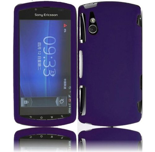 Dark Purple Rubberized Hard Snap-on Protector Shell Case Face Plate Cover For Sony Ericsson Xperia Play -