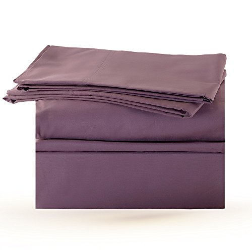 Premium 500 TC Thread Count 4 piece Deep Pocket Bed Sheet Set 100 % Egyptian Cotton for Soft, Stylish, Comfortable Sheet set with Deep Pocket - Luxury Bed Linen by StarZebra (Queen, Dark Purple)