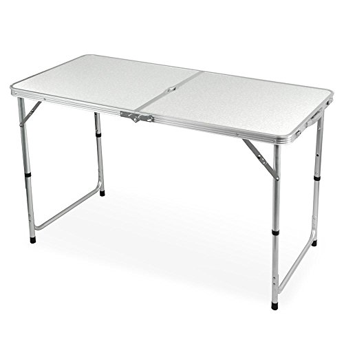 go2buy Height Adjustable Folding Utility camping Table White Review