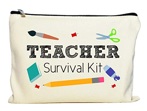 Moonwake Designs Teacher Survival Kit, Teacher Appreciation Gift, Teacher Makeup Bag, Teacher Pencil Pouch, Best Teacher Gift, Teacher Gifts For Women, Preschool, Elementary, High School