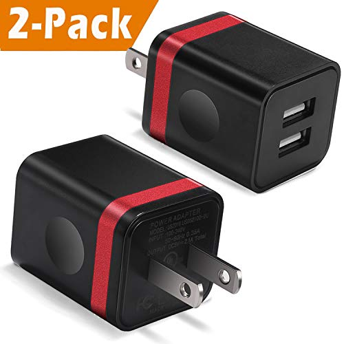 USB Wall Charger, BEST4ONE 2-Pack 2.1A/5V Dual Port USB Plug Power Adapter Charging Block Compatible with Moto, iPhone Xs/XR/X 8/7/6, Kindle, Samsung, LG, More Android Cell Phone (Black/Red)