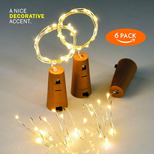 - Tomshine Wine Bottle Lights with Cork, 6 Pack Battery Operated LED Cork Shape Silver Copper Wire Colorful Fairy Mini String Lights for DIY, Party, Decor, Christmas, Halloween,Wedding (Warm White)