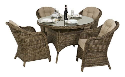 Maze Rattan Winchester Rounded Chair 4 Seat Round Dining Set with a 120cm Table in a Rounded Natural Toned Weave with a Matching Parasol