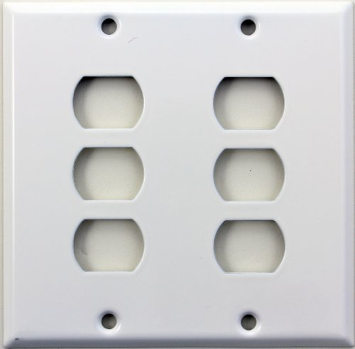 Smooth White Two Gang Switch Plate - Six Despard (Steel Despard Wall Plate)