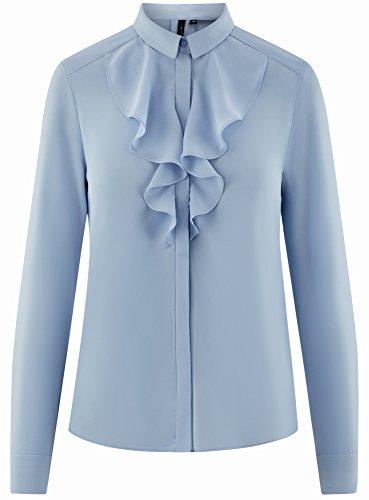 Collection Chemisier Femme Fluide 7000n Tissu en Volants Bleu oodji dn7qwx7