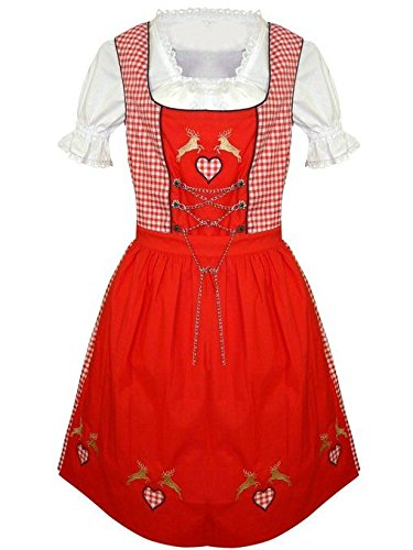 Dirndl World Womens Di17, German Bavarian 3 Piece Mini Dirndls Dress for Oktoberfest, Blouse, Apron, Size 22 by Dirndl World