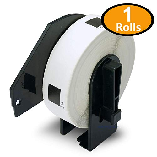 1 Rolls Brother-Compatible DK-1204 17mm x 54mm(2/3 x 2-1/8) 400 Labels per Roll with Refillable Cartridge