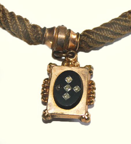 #F13701 Beautiful Victorian Era Antique Hair Braided Watch Chain with Black Onyx Fob