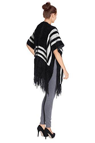 Cherry Paris–Promo Mujer Poncho Chaleco Sibel bi-colore de rayas verticales de corte recto manga corta con flecos a la base. negro