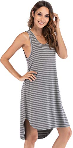 WiWi Womens Soft Bamboo Nightgowns Sleeveless 4XL, Heather Grey Stripe, 2X-Large