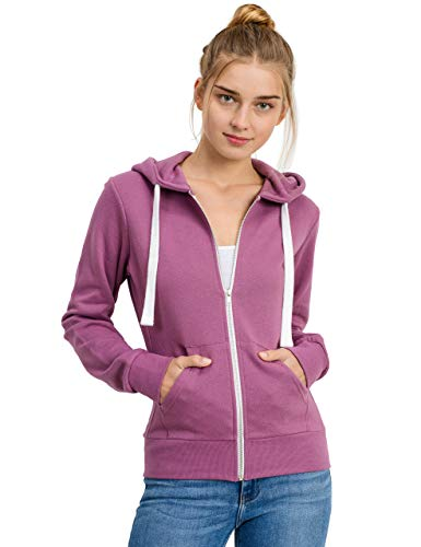 (esstive Women's Basic Fleece Full-Zip Hooded Jacket, Light Purple, Medium)