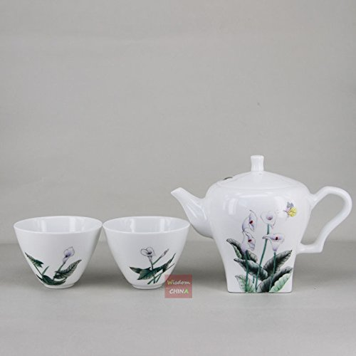 Chinese Jingdezhen Hand painted Famille-rose Porcelain Tea Set-1 teapot 2 tea ()