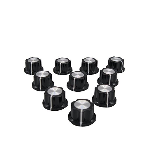 (Taiss / 10pcs Silver Tone Top Rotary Knobs for 4 mm Dia. Shaft, Potentiometer Switch Knob Top Diameter: 16mm Black A01-4mm)