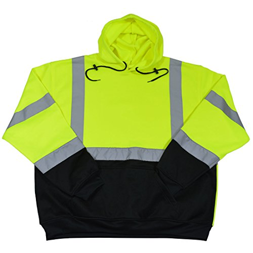 Petra Roc LBPUHSW-C3-5X High Visibility ANSI 107 Class 3 Pullover Fleece Hoodie Safety Jacket, 5X-Large, Lime/Black - Fleece Ansi Hooded Jacket