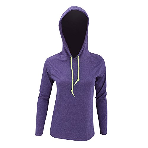 Hooded Fashion Anvil Noir Fitted Foncé gris Camiseta Ls Mujer Woman Para Crs Tee wqrtXq