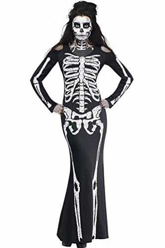 Costume Ideas For Couples Cheap - Women Round Neck Full Sleeve Long Skeleton Dress Cut-outs Adult Halloween Costume