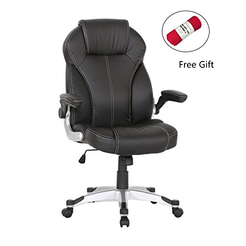 HollyHOME Mid Back PU Leather Executive Office Chair with Flip-up Arms (Managerial Mid Back Leather Chair)