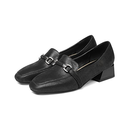 QIN Chaussures Talons Bouche Profond CXQ Peu carré Black Bloc Femme Tête amp;X UCRRq5xwdv