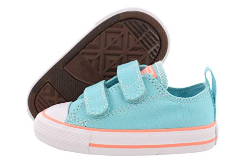 Converse Kids' Chuck Taylor All Star 2V Seasonal Low Top Sneaker, Bleached Aqua/Crimson Pulse, 7 M US Toddler