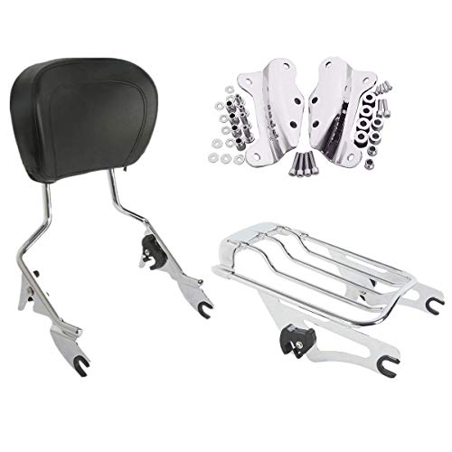 (XFMT Detachables Backrest Sissy Bar Upright w/ 2 Up Air Wing Luggage Rack 4 Point Docking Hardware Kits Compatible with Harley Touring 2009-2013 FLHR, FLHRC, FLHT, FLHX, FLTR, and FLTRX, FLHRSE5)