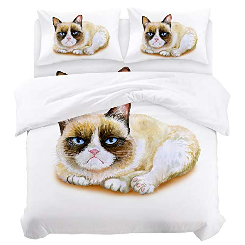 Animal Bedding Duvet Cover 4 Piece Set, Grumpy Siamese Cat Angry Paws Asian Kitten Moody Feline Fluffy Love Art Print, Hypoallergenic Microfiber Comforter Cover Bedspread and 2 Pillow Cases - Twin