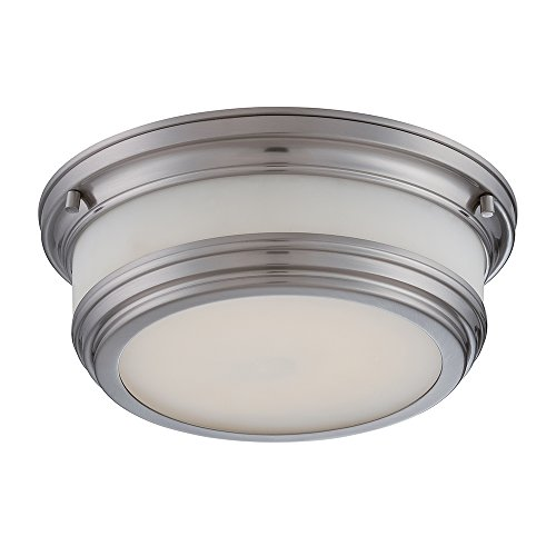Outdoor Flush Collection (Nuvo Lighting 62/326 Dawson LED One Light Flush Dome 20 Watt 1420 Lumens Soft White 2700K KolourOne LED Technology Frosted Glass Brushed Nickel Fixture)