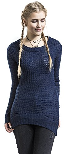 RED by EMP Long Wideneck Sweater Pull Femme Marine M
