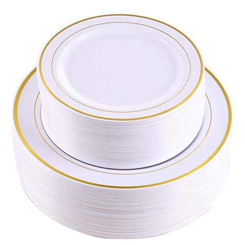 White China Plate - 102 Pieces Gold Plastic Plates, White Party Plates, Premium Heavyweight Disposable Wedding Plates Includes: 51 Dinner Plates 10.25 Inch and 51 Salad / Dessert Plates 7.5 Inch