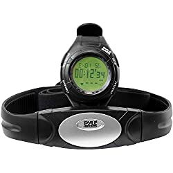 Pyle Advanced Pedometer with Heart Rate Monitor, Fitness Tracker Watch, Calorie Counter, Heart Rate Sensor, Activity Tracker, Water Resistant - Black (PHRM28)