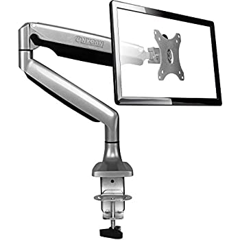 ONKRON Monitor Desk Mount Full Motion with Mount and Gas Spring Fully Adjustable Mounting Arm for Computer Monitors 13'' - 32 Inch LED LCD Flat Panel TVs up to 19.8lbs G100 Silver