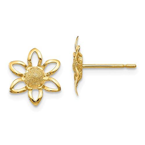 Mm Flower 11 Post (14k Yellow Gold Childrens Flower Post Stud Earrings Gardening Outdoor Nature Fine Jewelry For Women Gift Set)