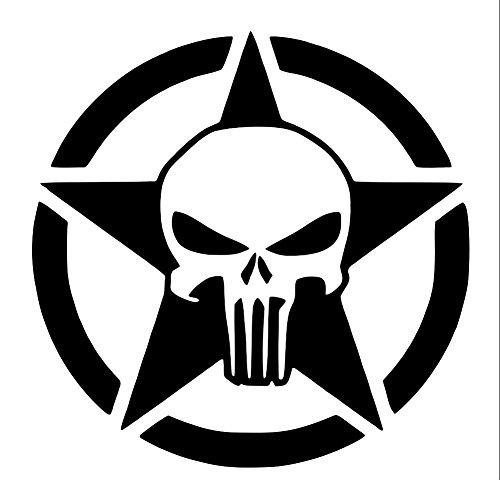 UR Impressions MBlk 22.5in. Oscar Mike Army Star Punisher Skull Decal Vinyl Sticker Graphics for Cars Trucks SUV Vans Walls Windows Laptop|Matte Black|22.5 inch|URI469